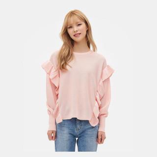 라이트 핑크 루즈핏 러플 풀오버