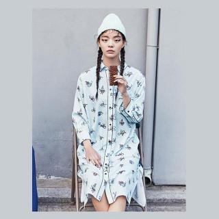 라이트 민트 프린트 파자마 드레스