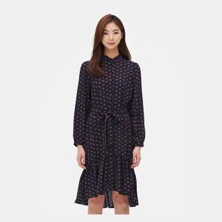 네이비 패턴 러플 롱 드레스