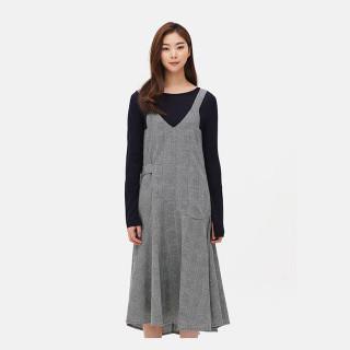 라이트 그레이 글렌 체크 피나포어 드레스