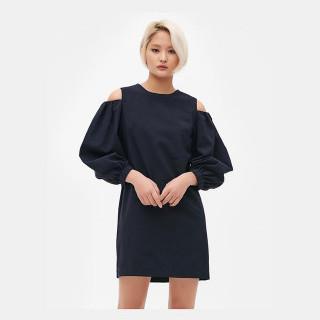 네이비 오프숄더 벌룬소매 드레스