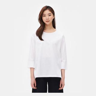 화이트 라운드넥 루즈핏 티셔츠