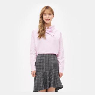 라이트 핑크 리본 포인트 셔츠