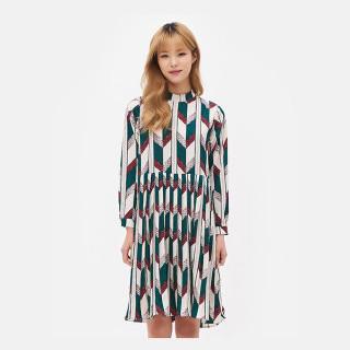 화이트 패턴 플리츠 셔츠 드레스