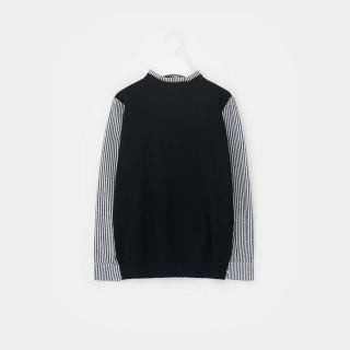 블랙 스트라이프 셔츠 믹스 니트 풀오버