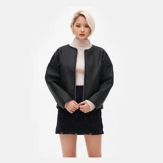 블랙 라운드넥 페이크레더 재킷