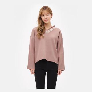 라이트 핑크 프릴 브이넥 스웨터