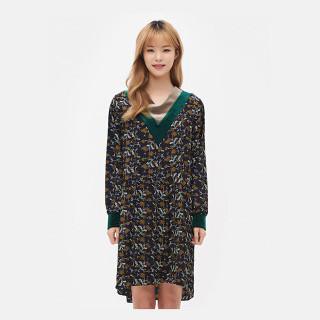 네이비 벨벳라이크 브이넥 플로럴 드레스