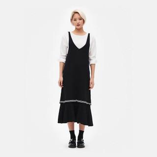 블랙 피나포어 롱 드레스