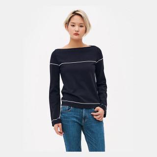 네이비 와이드 슬리브 스웨터