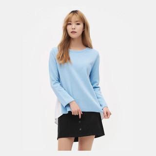 스카이 블루 화이트 셔츠 패치 풀오버