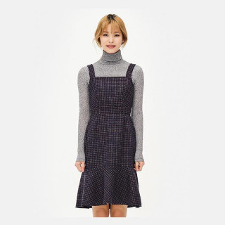 네이비 깅엄체크 피나포어 드레스