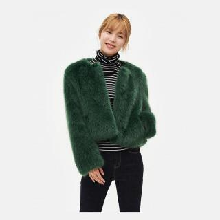 그린 페이크 퍼 재킷