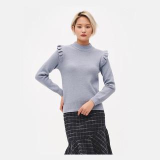 스카이 블루 프릴 디테일 스웨터