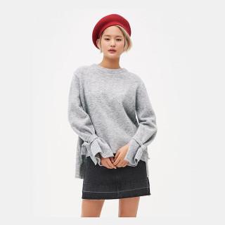 라이트 그레이 리본 소매 스웨터