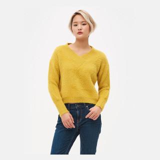 옐로우 브이넥 페이크 퍼 스웨터