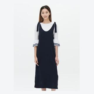 네이비 피나포어 파이핑 드레스
