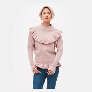 라이트 핑크 러플 스웨터