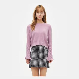 라이트 핑크 리브 벨 소매 스웨터