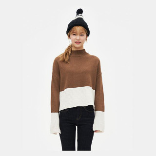 브릭 투톤 슬릿 디테일 스웨터