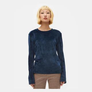네이비 벨벳 슬릿 슬리브 티셔츠