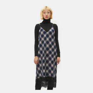 네이비 타탄 체크 피나포어 드레스