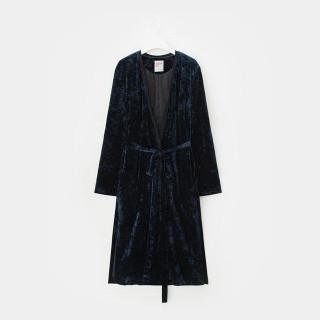 네이비 벨벳 로브 롱 재킷