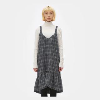블랙 글렌 체크 피나포어 드레스