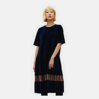 네이비 벨벳 로우 플리츠 드레스