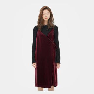 버건디 벨벳 랩 드레스