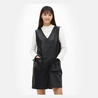 블랙 미니멀 레더 드레스