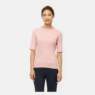 핑크 프릴 하프넥 골지 티셔츠