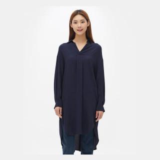 네이비 헨리넥 셔츠형 드레스
