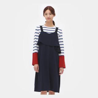 네이비 크레이프 프릴 드레스