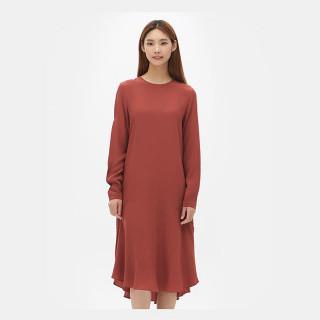 오렌지 솔리드 시폰 드레스