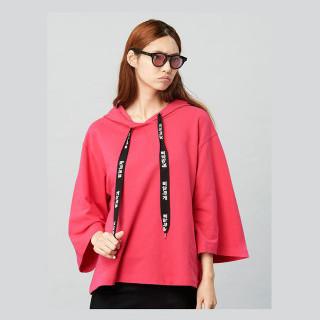핑크 삐딱하게 후드 티셔츠