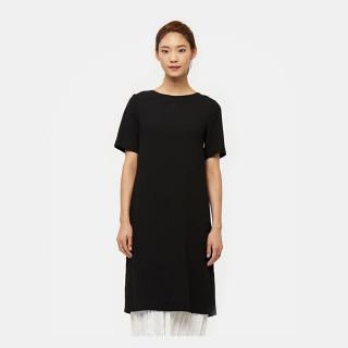 블랙 백 리본 디테일 세트 드레스