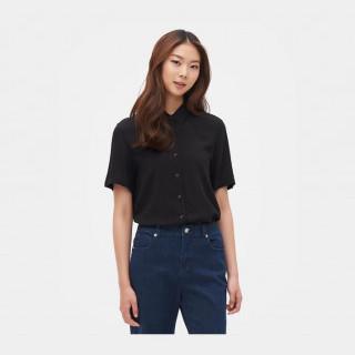 블랙 베이직 반소매 셔츠