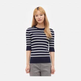 네이비 스트라이프 반소매 스웨터