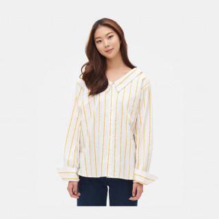 옐로우 스트라이프 오픈숄더 셔츠