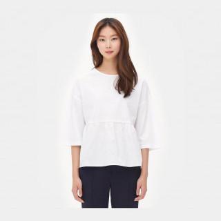 화이트 우븐패치 7부 티셔츠