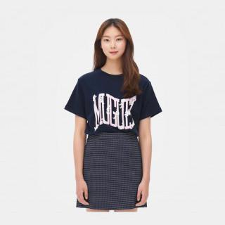 네이비 레터링 반소매 티셔츠