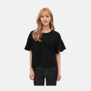 블랙 커팅 헴라인  티셔츠