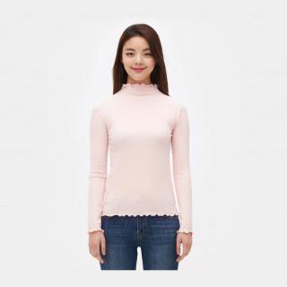 라이트 핑크 프릴 하프넥 골지 티셔츠