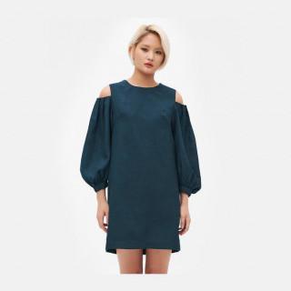 다크 그린 오프숄더 벌룬소매 드레스