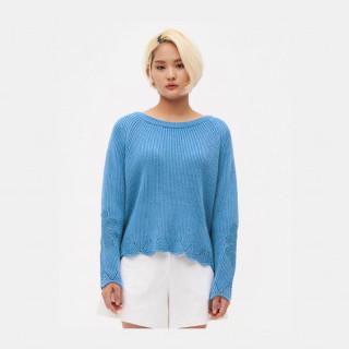 스카이 블루 웨이브 헴 스웨터