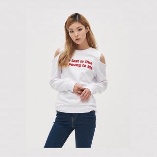 화이트 콜드숄더 스웨트 셔츠