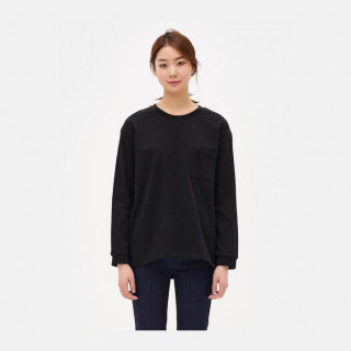 블랙 베이직 스웨트 셔츠