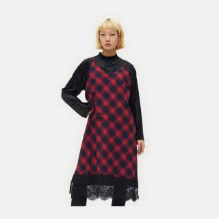 레드 타탄 체크 피나포어 드레스