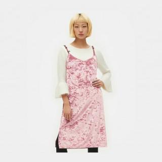 라이트 핑크 벨트 스트랩 벨벳 드레스